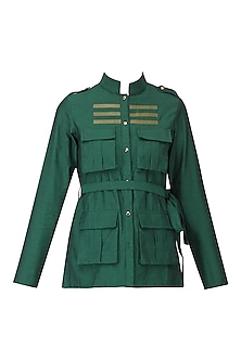 Green Faux Leather Stripe Work Shirt