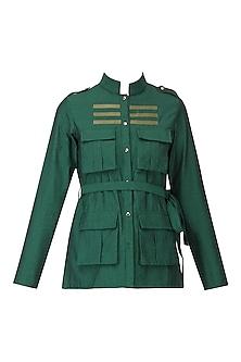 Green Faux Leather Stripe Work Shirt by Param Sahib