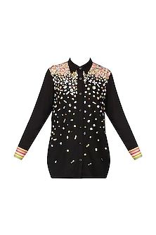 Black Sequinns Embroidered Shirt by Param Sahib