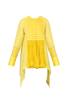 Yellow Asymmetric Faux Leather Stripe Top