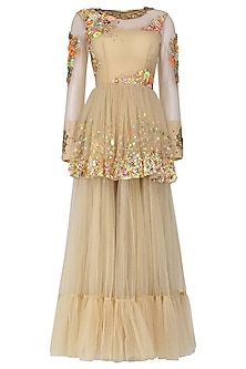 Beige Hand Embroidered Gathered Peplum Gown