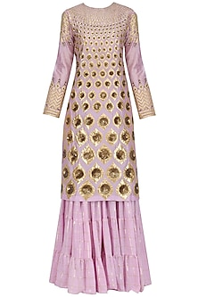 Lavender Hand Embroidered Kurta and Sharara Pants Set by Param Sahib