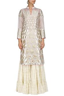 Ivory Hand Embroidered Kurta and Sharara Pants Set by Param Sahib