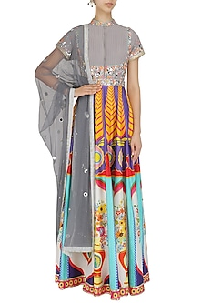Grey Floral Work High Neck Anarkali Set by Param Sahib