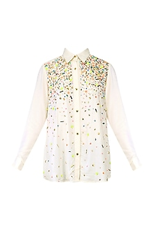 Ivory Ripple Hand Embroidered Shirt