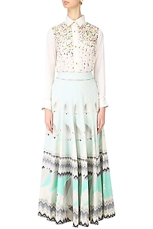 Ivory and English Blue Digital Printed Skirt by Param Sahib