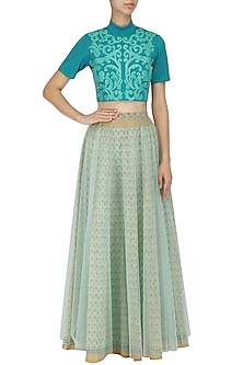 Teal Faux Leather Hand Cutwork Crop Top by Param Sahib