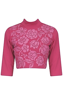 Wine Faux Leather Hand Cutwork Crop Top by Param Sahib
