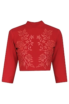 Red Faux Leather Hand Cutwork Crop Top by Param Sahib