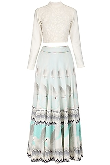 Ivory Faux Leather Hand Cutwork Crop Top and Printed Lehega Skirt Set