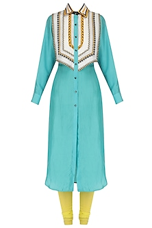 Turquoise Printed Yoke Shirt Kurta Set