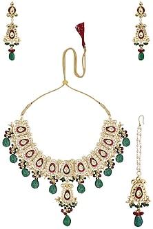 Gold Finish Kundan, Green Stones and Meenakari Necklace Set by Parure
