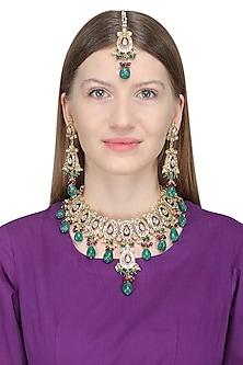 Gold Finish Kundan, Green Stones and Meenakari Necklace Set