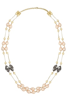 Gold Finish Zircon, Pearls and Gems Necklace by Parure