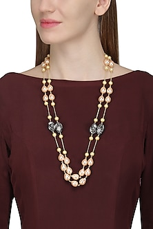 Gold Finish Zircon, Pearls and Gems Necklace