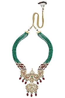Gold Finish Pink Gems, Zircons and Green Crystals Necklace by Parure