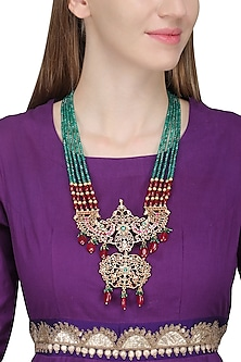 Gold Finish Pink Gems, Zircons and Green Crystals Necklace
