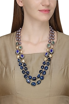 Gold Finish Lapis and Mauve Pearls Necklace