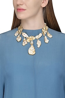 Gold Finish Baroque Pearls and Gems Necklace