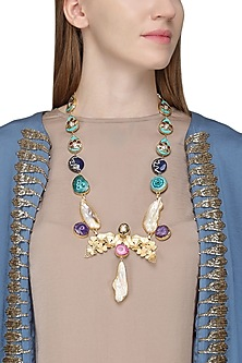Gold Plated Multi-Colour Gems Necklace by Parure