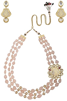 Gold Finish Gems and Gold Balls Necklace Set by Parure