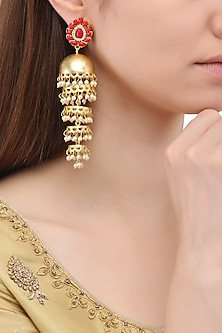 Matte Finish Red Stone Jhumki Earrings by Parure