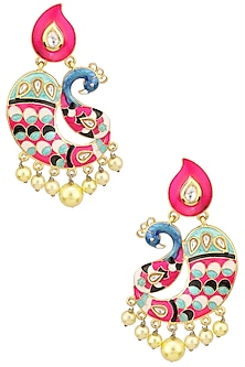Matte Finish Peacock Motif and Enamel Detailing Earrings by Parure