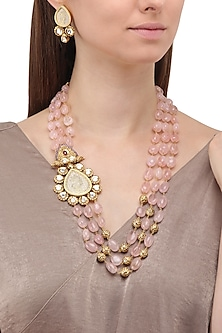 Gold Plated Zircons and Crystal Broach Necklace Set