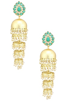 Matte Finish Turquoise Stone Jhumki Earrings by Parure