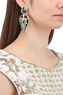 Matte Finish Red and Green Meenakari Earrings by Parure