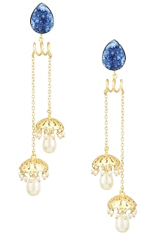 Matte Finish Blue Stone and Jhumki Drops Earrings by Parure