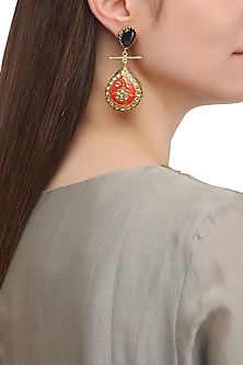 Matte Finish Red and Golden Meenakari Earrings by Parure