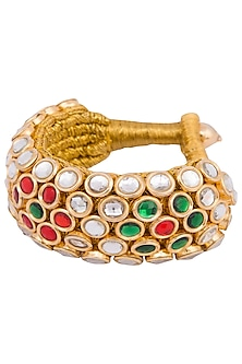 Gold plated kundan, zari and meena bracelet by Parure