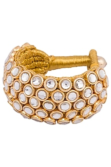 Gold plated 5 line kundan and zari bracelet by Parure