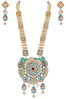 Gold plated turquoise pearl, kundan and zari necklace set by Parure