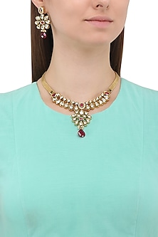 Matte Finish Zircons and Polki Necklace Set by Parure