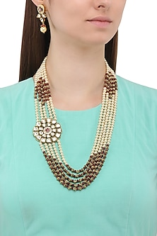 Matte Finish Golden Beads and Pearls Broach Necklace Set