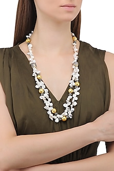 Matte Finish Zircons and Baroque Pearls Necklace
