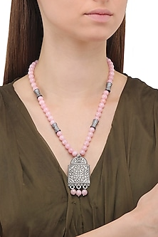 Matte Finish Zircons and Baby Pink Jade Necklace
