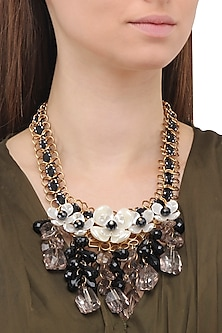 Matte Finish Flower Motifs and Crystal Necklace