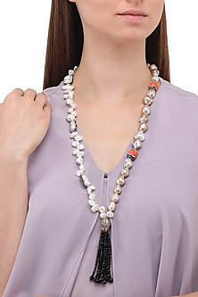 Matte Finish Pearls, Zircons and Tassel Necklace by Parure