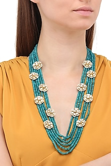 Matte Finish Green Jade and Floral Motifs Necklace by Parure