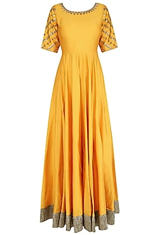 Yellow and Gold Floral Gota Patti Embroidered Anarkali Set
