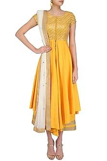 Yellow and Gold Floral Gota Patti Embroidered Front Slit Anarkali Set by Priyanka Jain