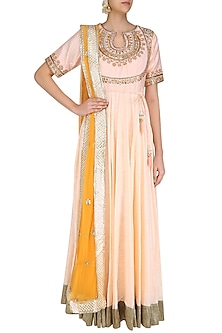 Powder Pink Gota Patti and Threadwork Anarkali Set by Priyanka Jain