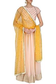 Light Peach Gota Patti Embroidered Front Open Anarkali Set by Priyanka Jain