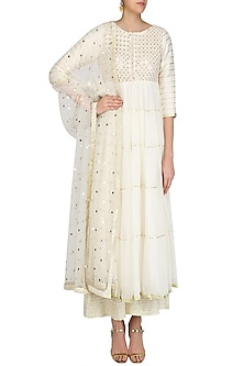Ivory Gota Patti Embroidered Anarkali Suit Set by Priyanka Jain