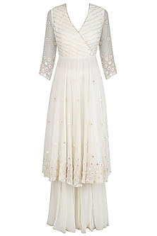 Ivory Embroidered Agrakha Style Kurta and Sharara Pants Set by Priyanka Jain