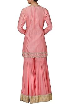 Pink Embroidered Sharara Set by Priyanka Jain