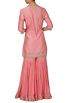 Pink Dabka Embroidered Sharara Set by Priyanka Jain